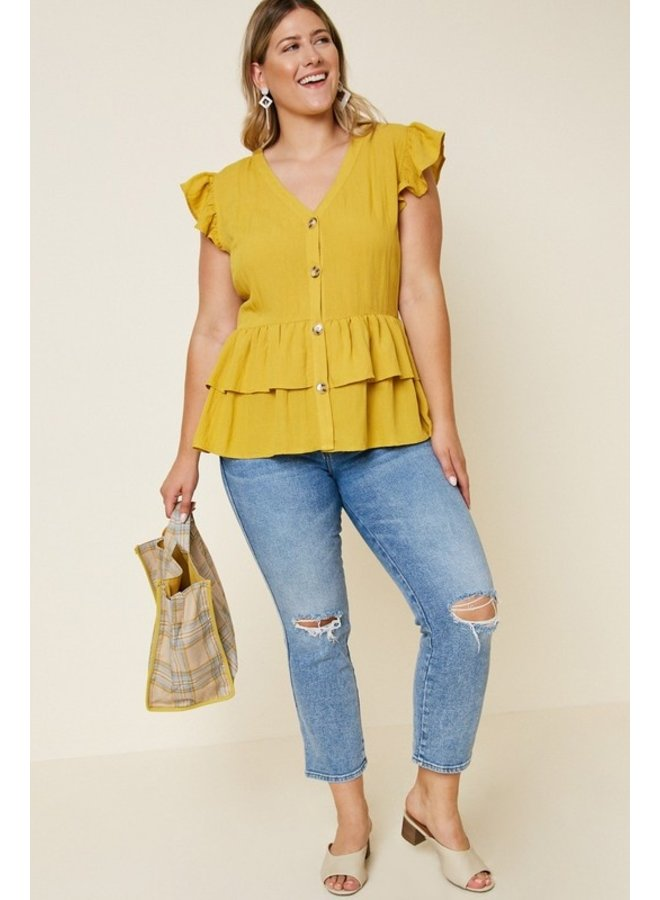 Ruffle Shoulder Button Down Top
