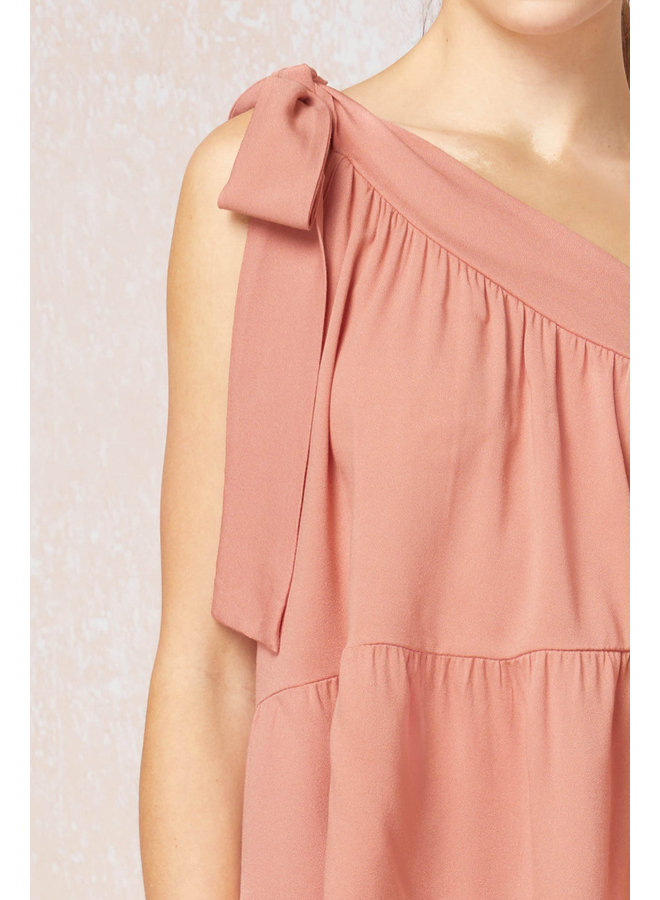 One Shoulder Tie-Strap Blouse
