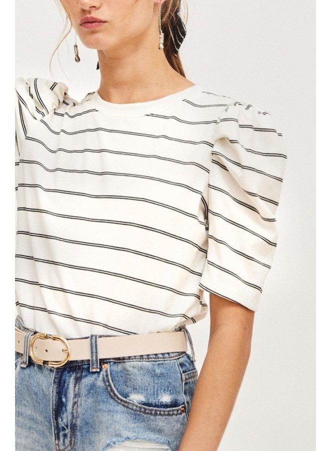 Striped Puff Sleeve Tee