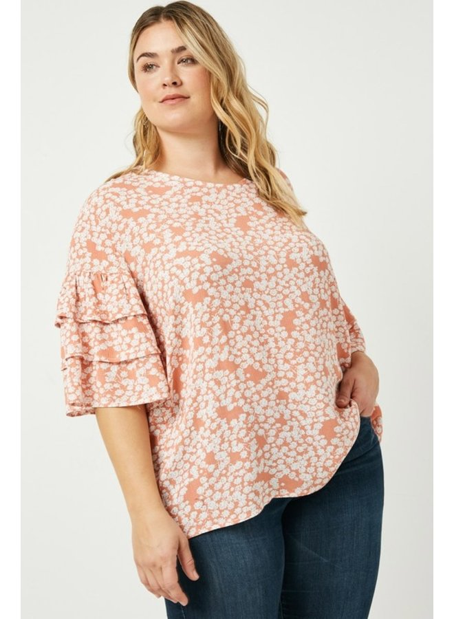 Tiered Sleeve Floral Blouse