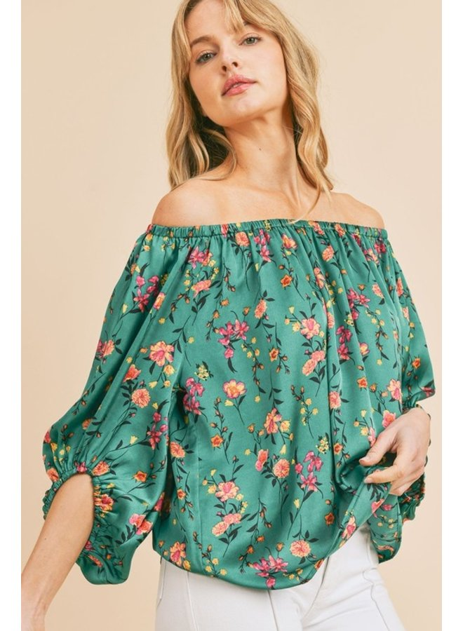 Satin Floral Puff Sleeve Top