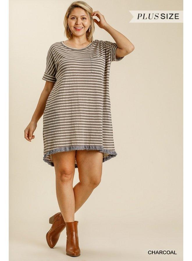 Frayed High-Low Tee Dress