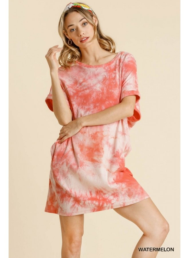 Ribbed Tie Dye T-Shirt Dress