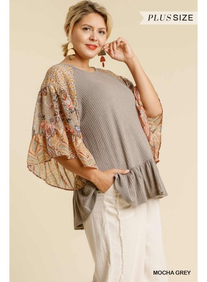 Waffle Knit Top with Paisley Sleeves