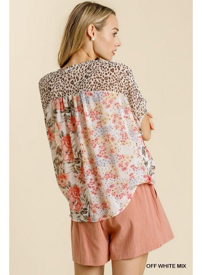 Leopard & Floral Front Wrap Top