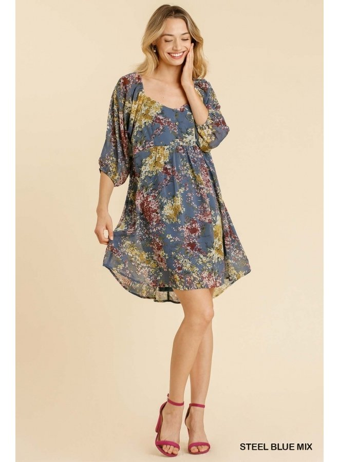 Floral Sweetheart Neckline Dress