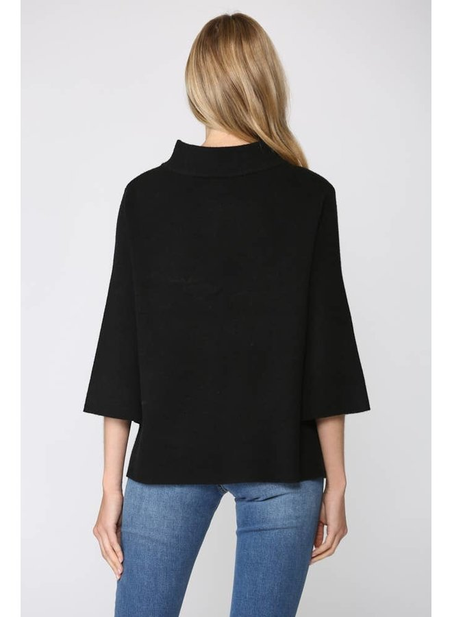Mock Neck Pullover with Bell Sleeve