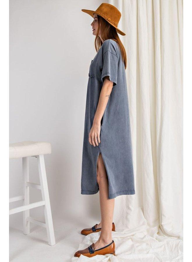 Washed Denim Midi Dress