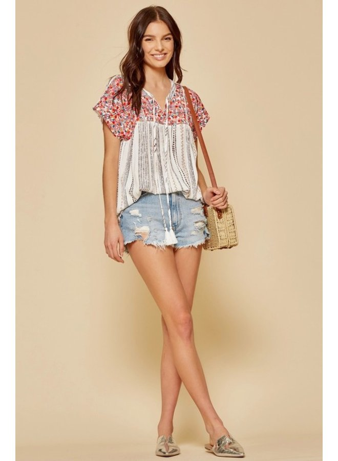 Striped Babydoll Top with Embroidery