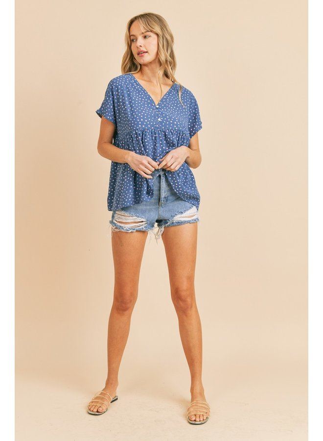 Dotted Button Up Babydoll Top