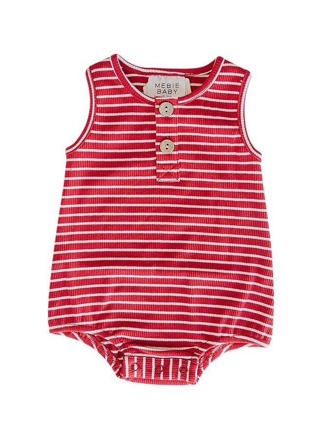 Red & White Stripe Bubble Romper