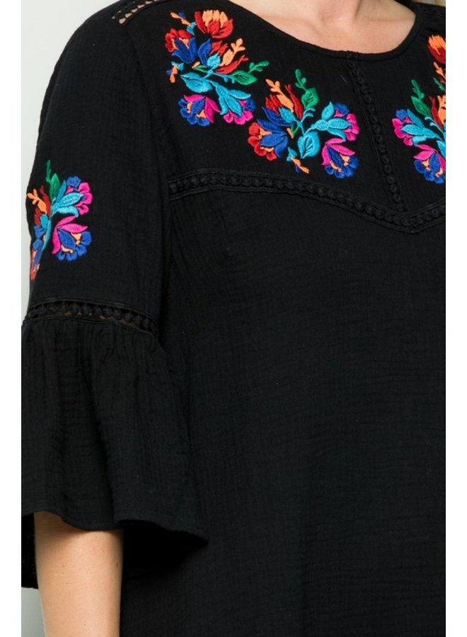 Embroidered 3/4 Sleeve Dress