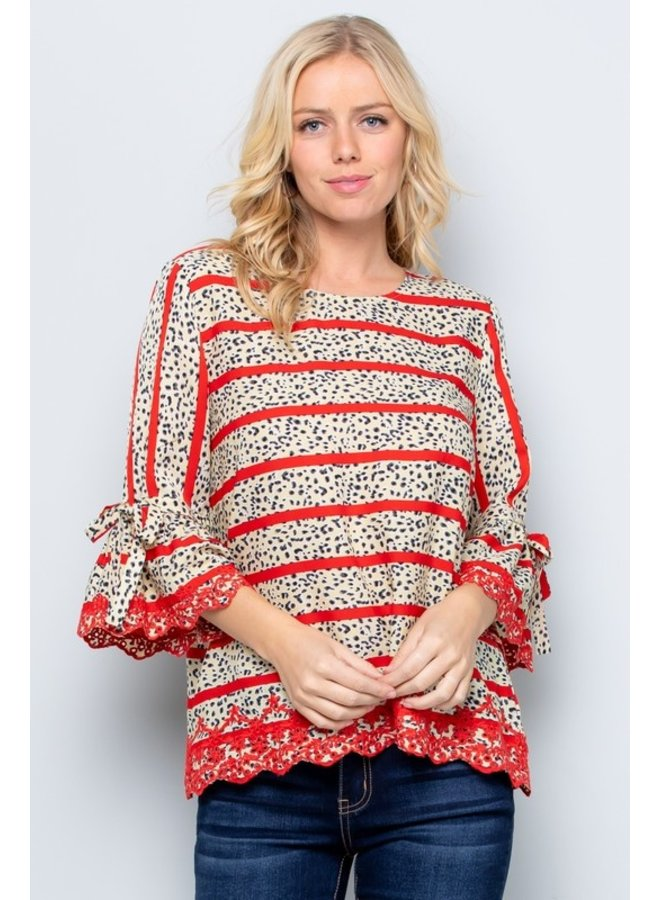 Scalloped Detail Bell Sleeve Top