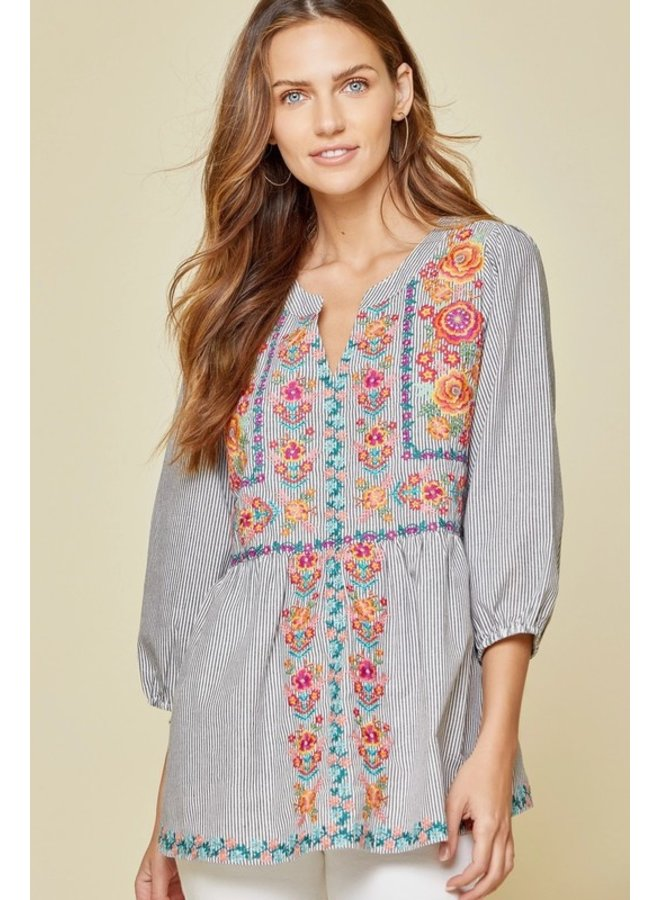 3/4 Sleeve Stripe Embroidered Blouse