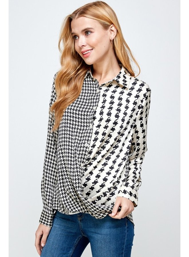 Mixed Print Houndstooth Blouse
