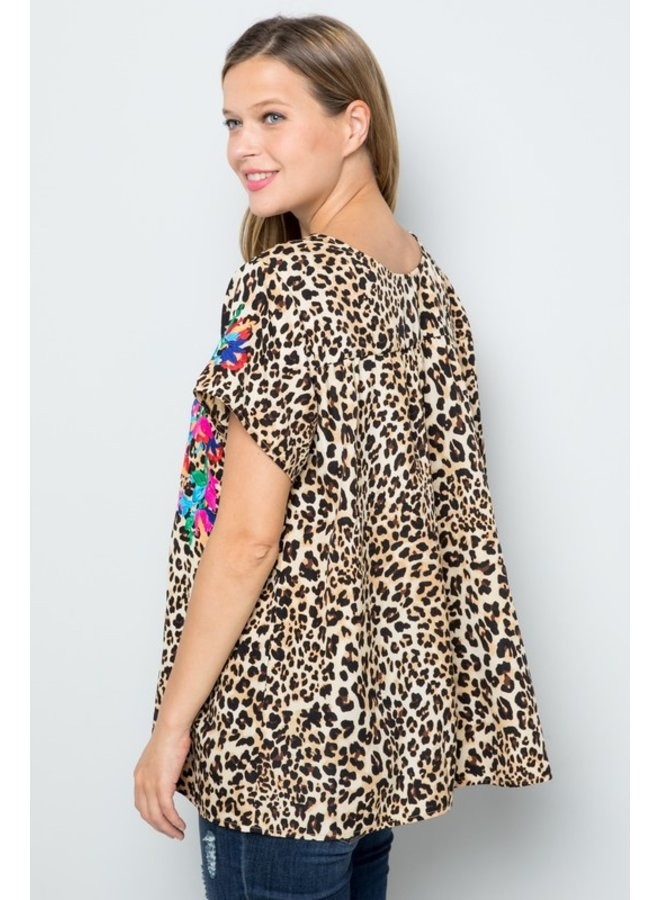 Embroidered Leopard Top