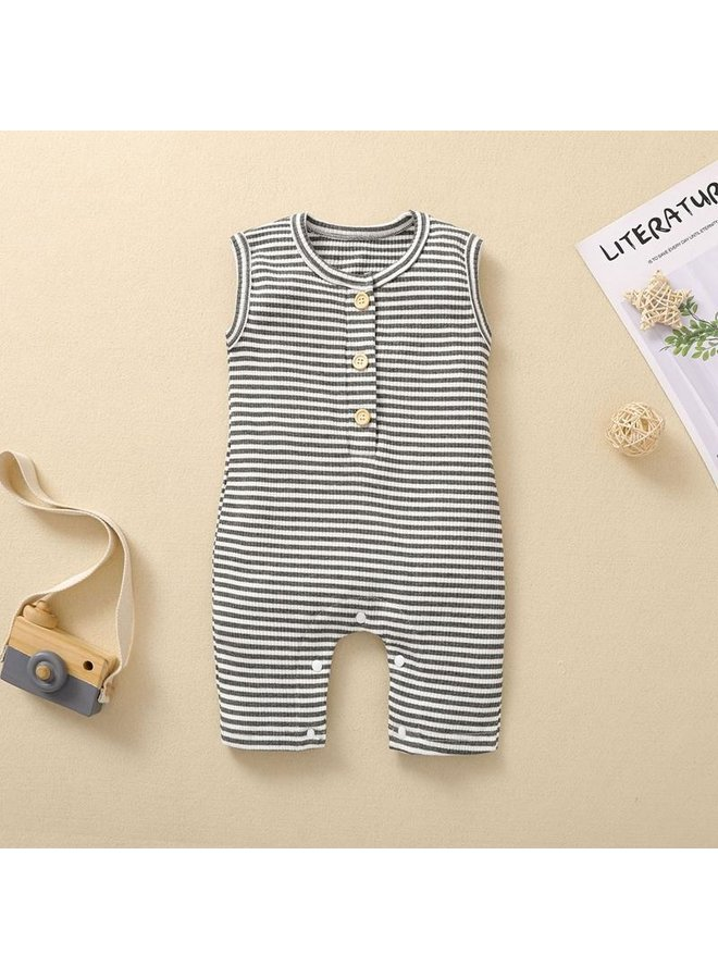 Stripped Ribbed Romper