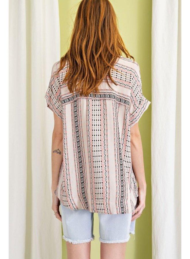 Short Sleeve Aztec Blouse