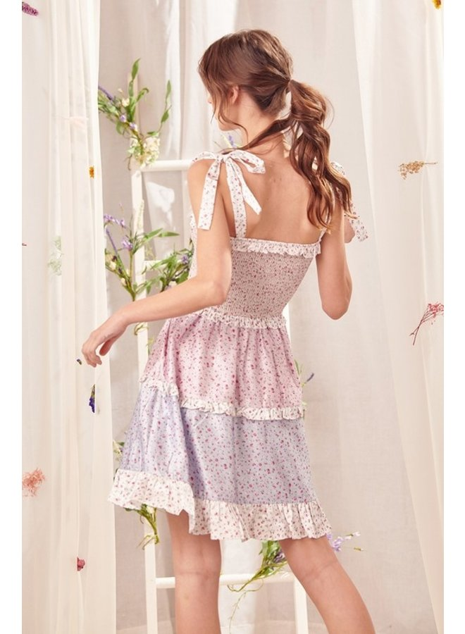 Mixed Floral Tiered Dress