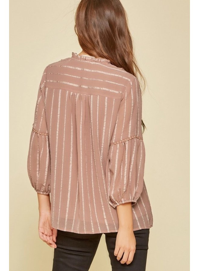 3/4 Sleeve Blouse with PomPom Detail