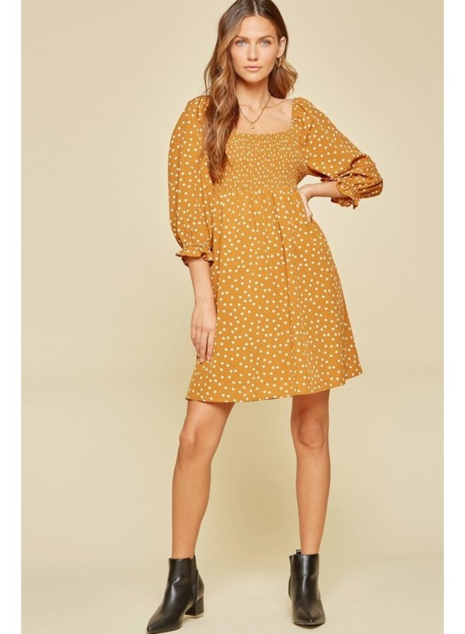 Smocked Polka Dot Dress