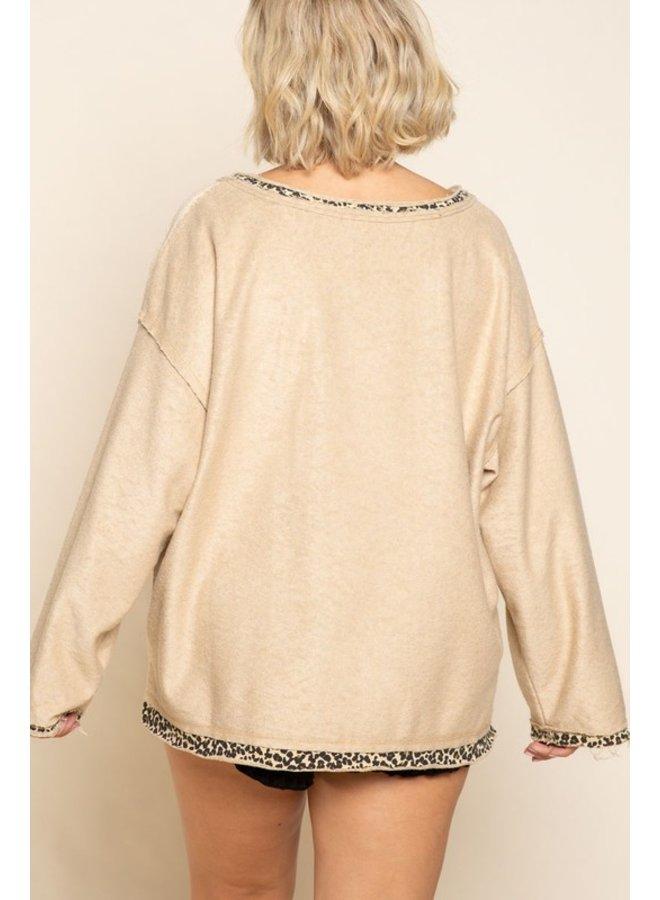 Leopard Lined Terry Sweatshirt