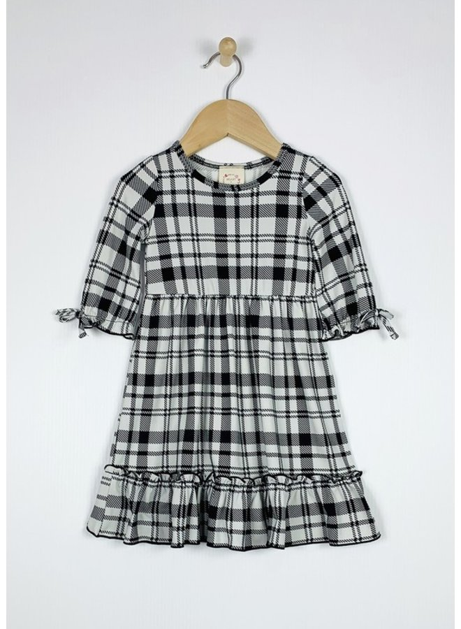 3/4 Sleeve Flounce Dress