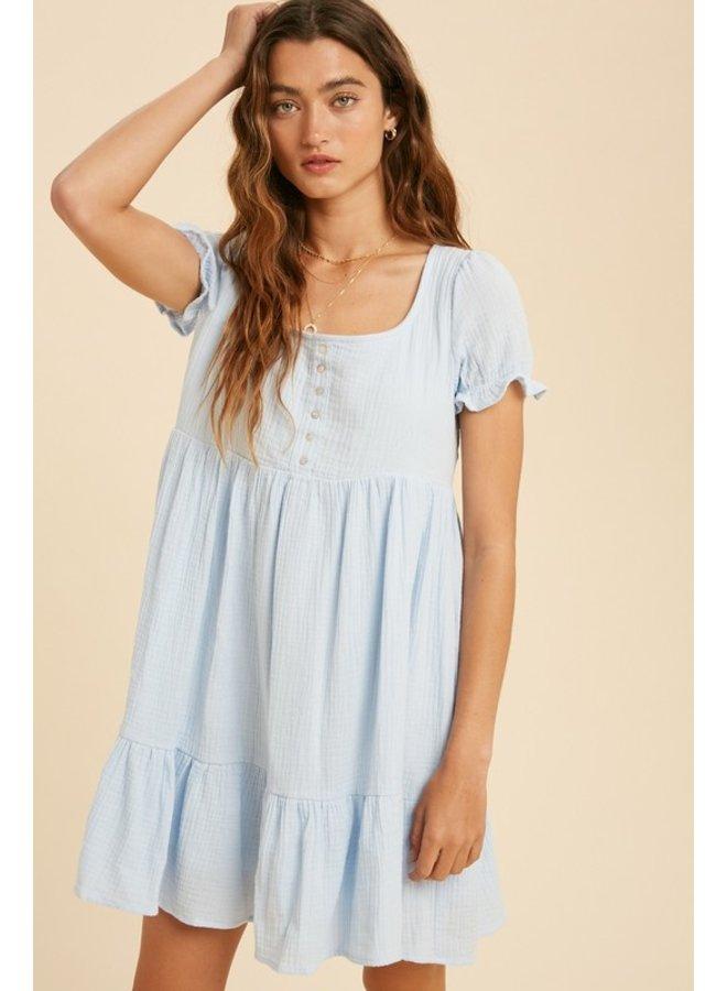 Gauze Henley Mini Dress