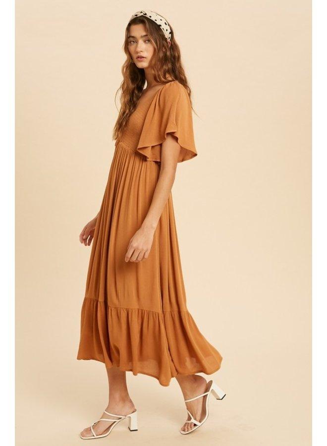Flutter Sleeve Midi Dress