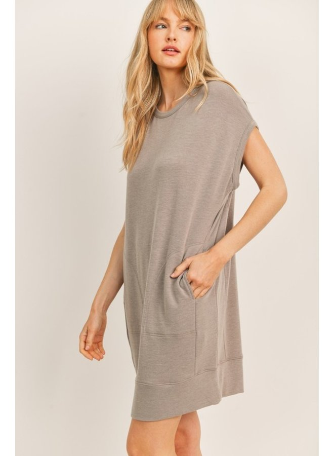 Front Pocket Terry Mini Dress