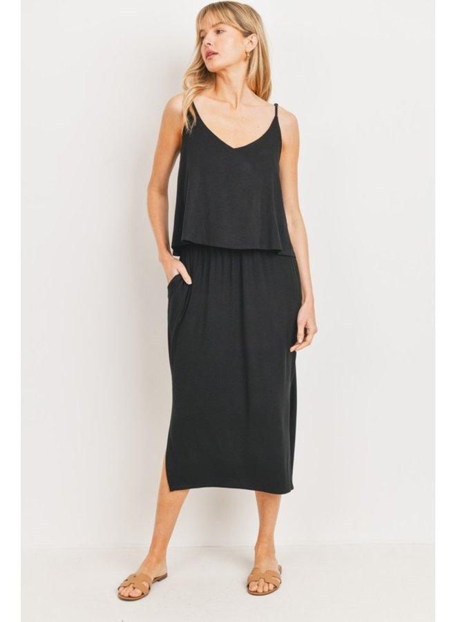 Overlay Jersey Midi Dress