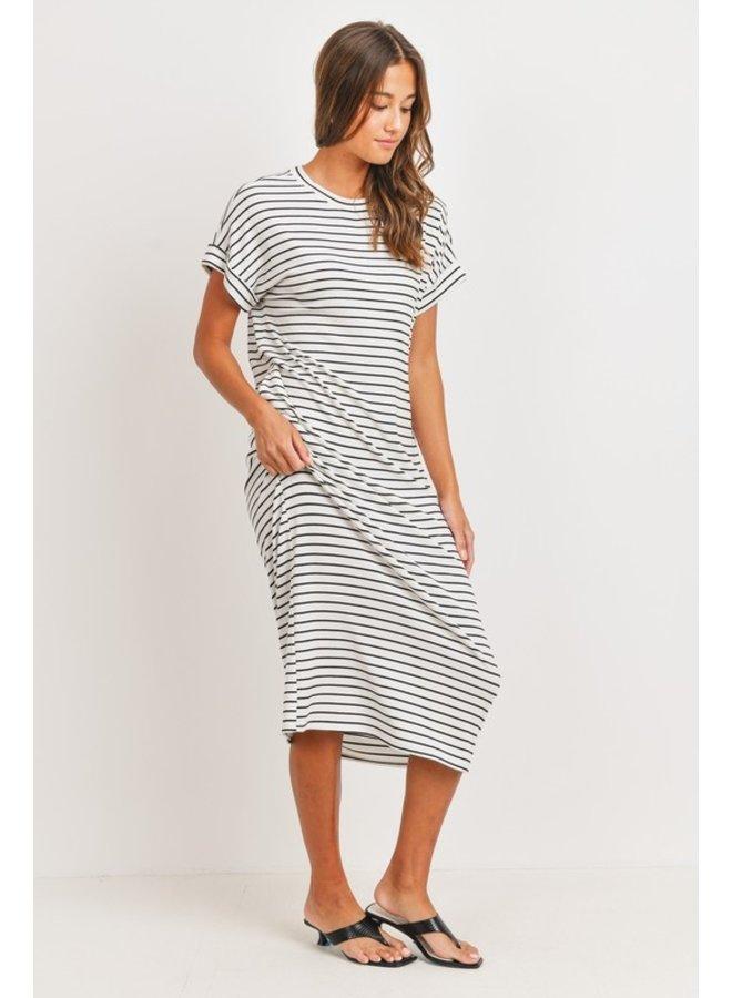 Striped Dolman Midi Dress