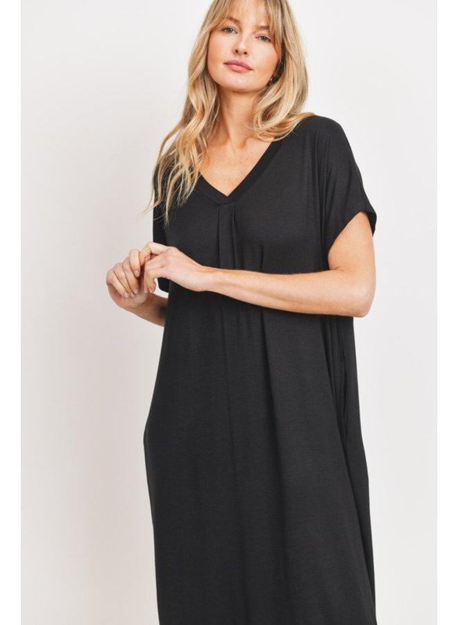 Flowy V-Neck Midi Dress