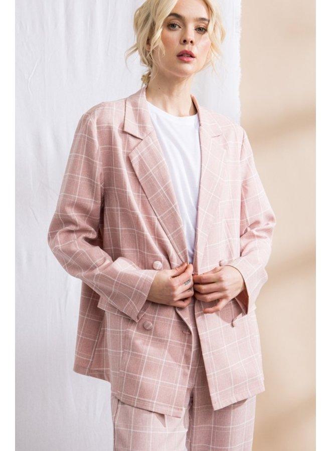 Pink Plaid Blazer