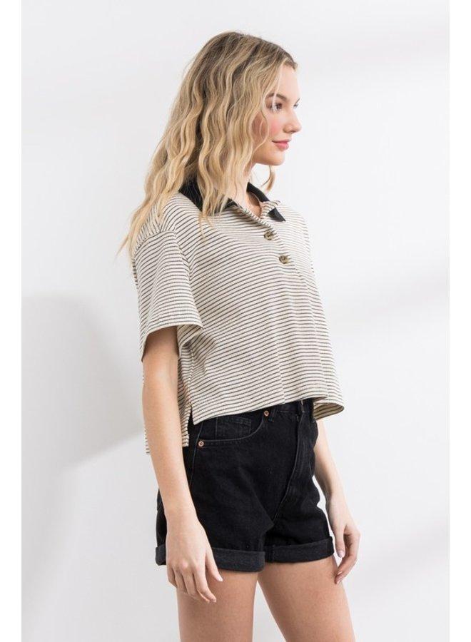 Stripe Collared Top