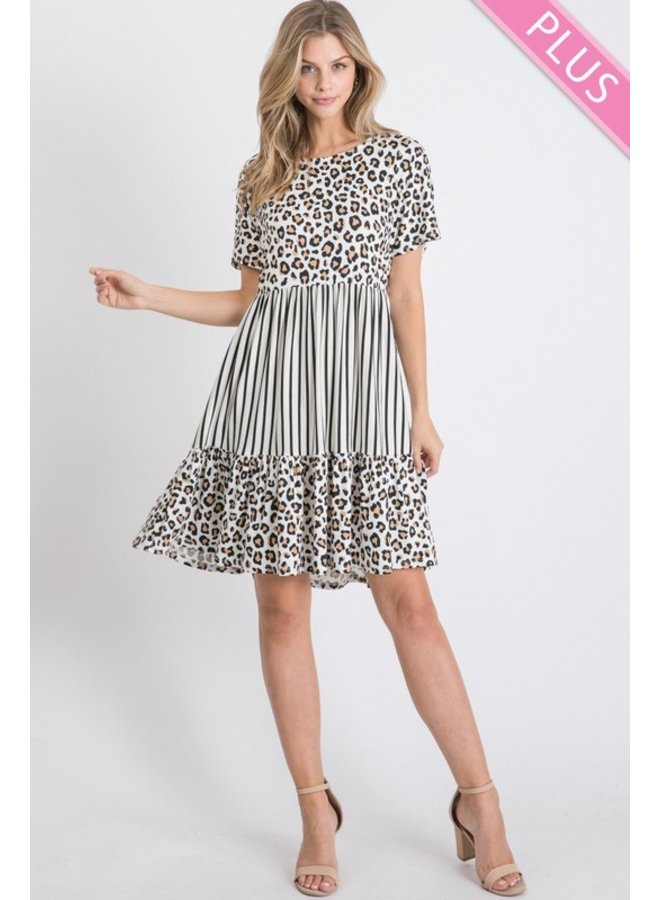 Leopard and Stripe T-Shirt Dress