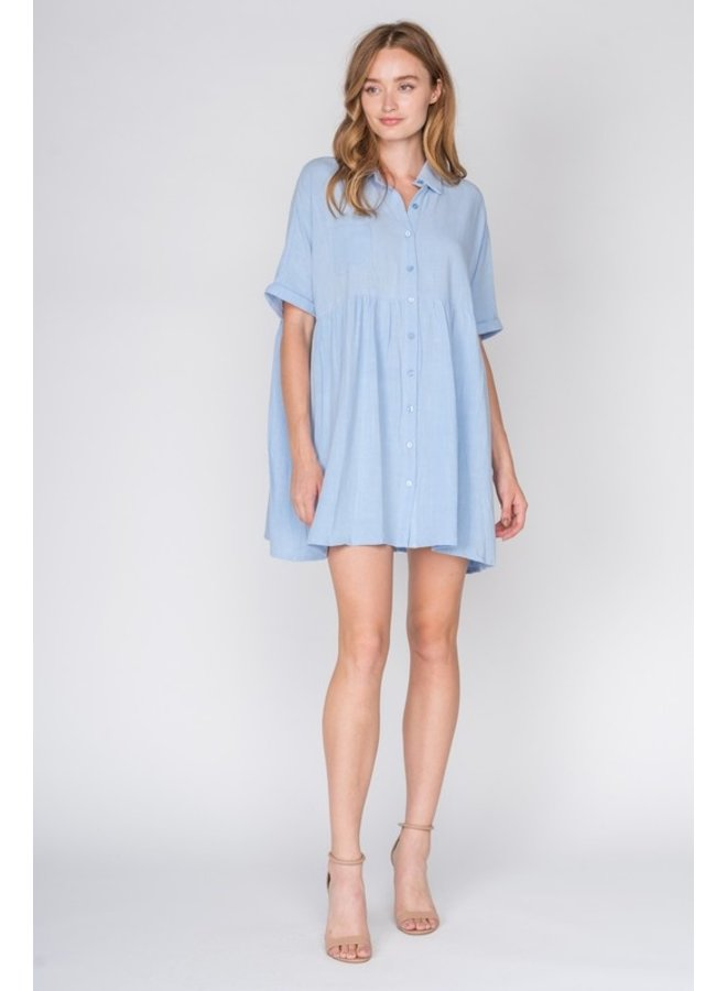 Linen Button Down Babydoll Dress