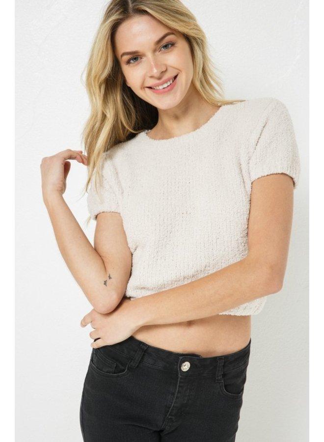 Fuzzy Short Sleeve Top