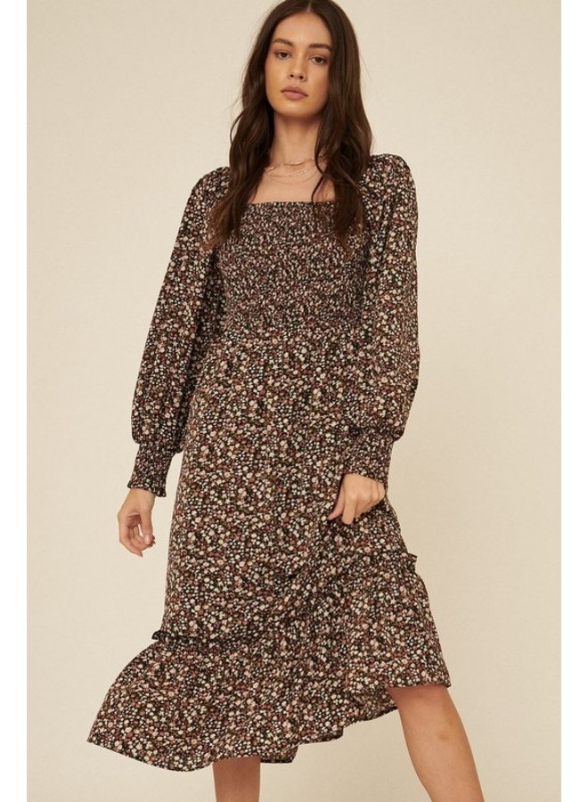 Smocked Bodice Floral Midi Dress