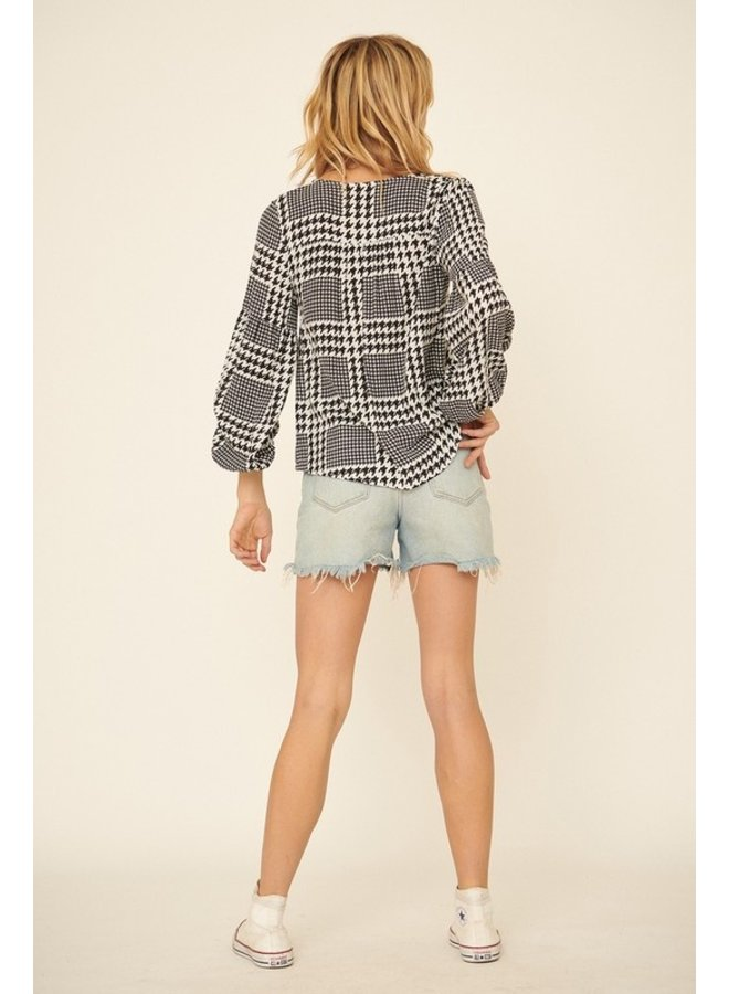 Houndstooth Bubble Sleeve Top