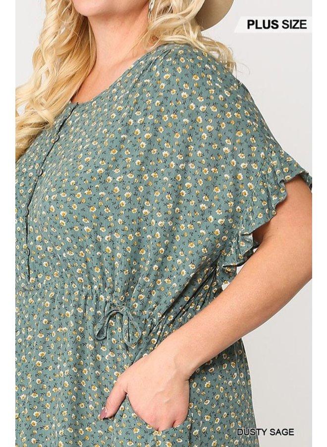 Waist Drawstring Dress with Pocket