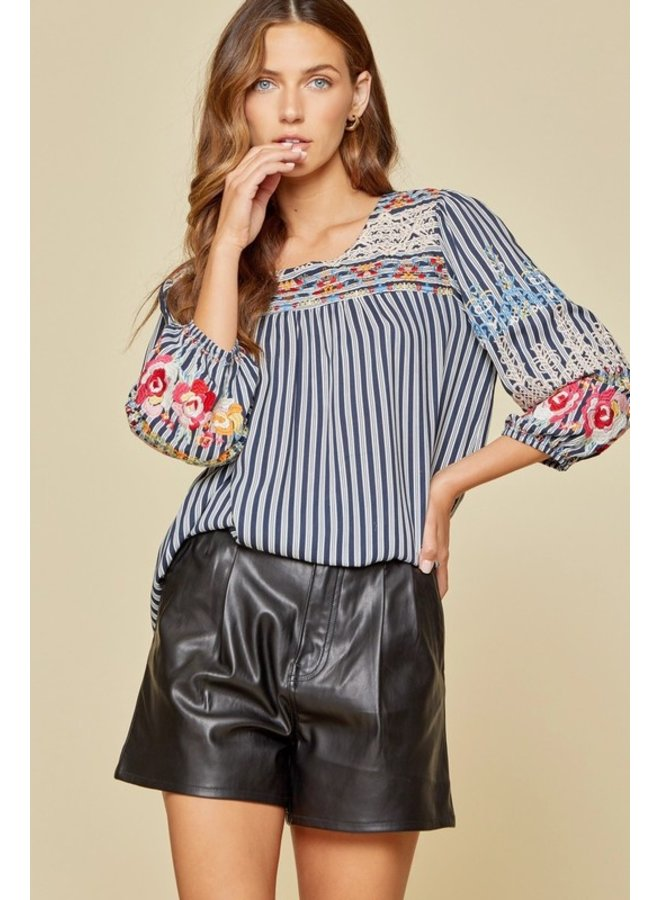 Striped 3/4 Sleeve Embroidered Blouse