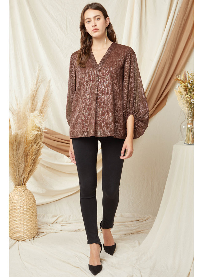 Shiny Dotted Balloon Sleeve Top
