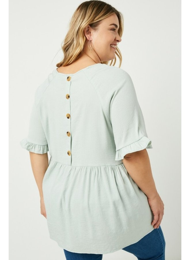 Button Back Babydoll Top