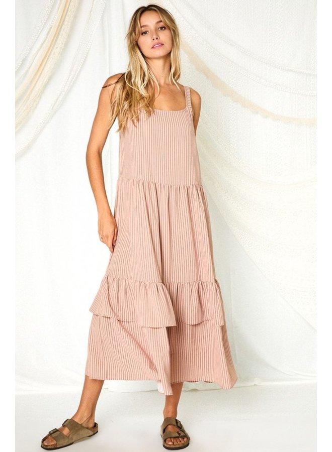 Tiered Striped Midi Dress