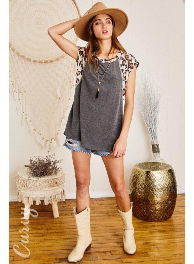 Leopard Shoulder Knit Top