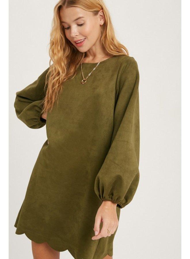 Scallop Hem Suede Dress