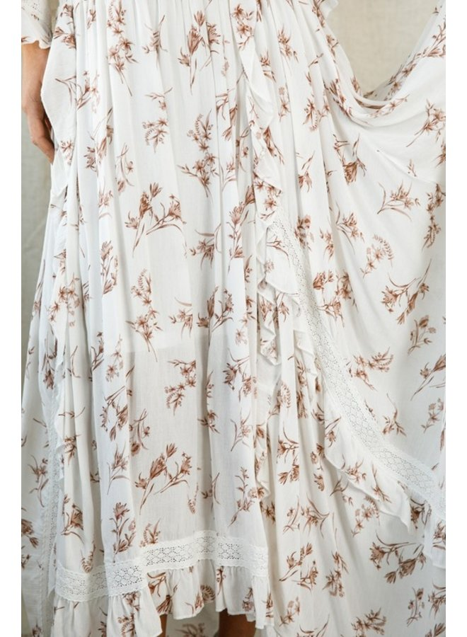 Floral Maxi Skirt with Ruffle