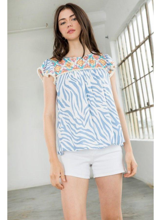 Zebra Embroidered Flutter Sleeve Top