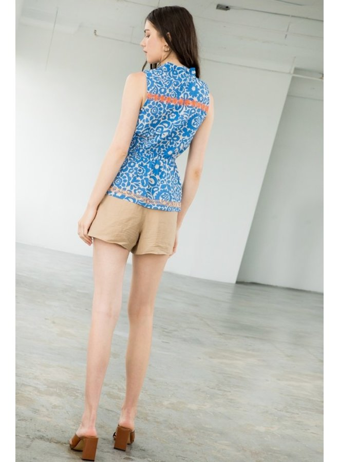Halter Embroidered Textured Top